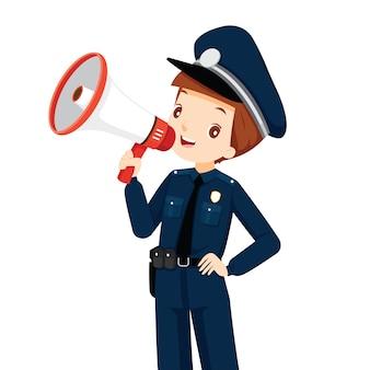 Polizist mit megaphon-ankündigung