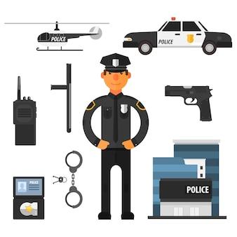 Polizist, polizeidienststelle flat style. elemente für infografik