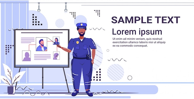 Polizist präsentiert informationstafel mit dieb foto afroamerikaner polizist in einheitlichen sicherheitsbehörde justiz law service konzept kopie raum