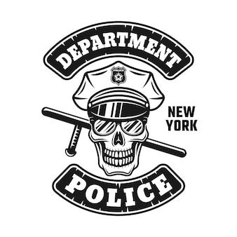 Polizist schädel in mütze und sonnenbrille mit stab emblem illustration Premium Vektoren
