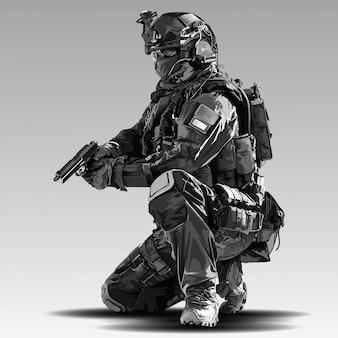 Polizist tactical shoot illustration. bewaffnetes polizeimilitär bereitet sich auf das schießen mit automatischer waffe vor.