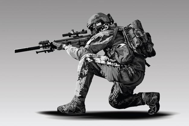 Polizist tactical shoot illustration. bewaffnetes polizeimilitär bereitet sich auf das schießen mit einem automatischen scharfschützengewehr vor.