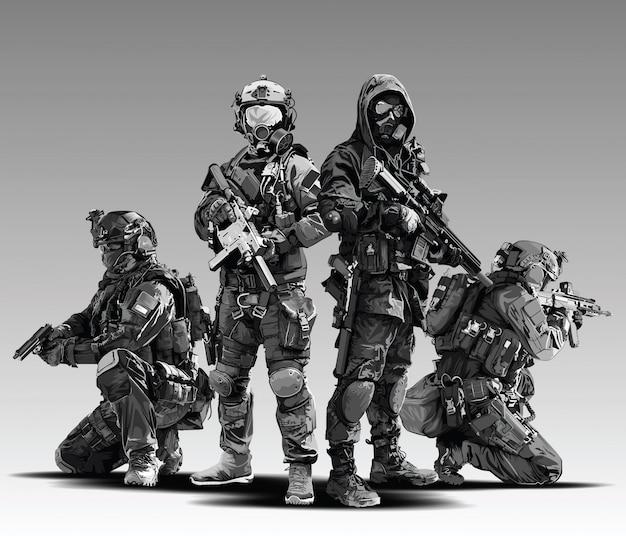Polizist tactical shoot illustration. bewaffnetes polizeimilitär bereitet sich darauf vor, mit automatischem gewehr zu schießen.