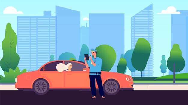 Polizist und fahrerin. autoinspektor schreiben gut an eindringling. geschwindigkeitsverkehrsverletzung oder falsches parken. abbildung der ermahnung zur sicherheitskontrolle. polizist offizier geben autofahrer geldstrafe