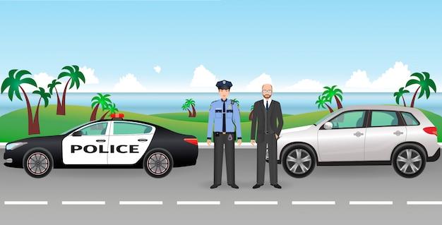 Polizist und polizei patrouillieren auf einer straße mit angehaltenem auto und fahrer. polizei- und zivilmanncharaktere.