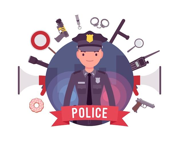 Polizist und waffenplakat
