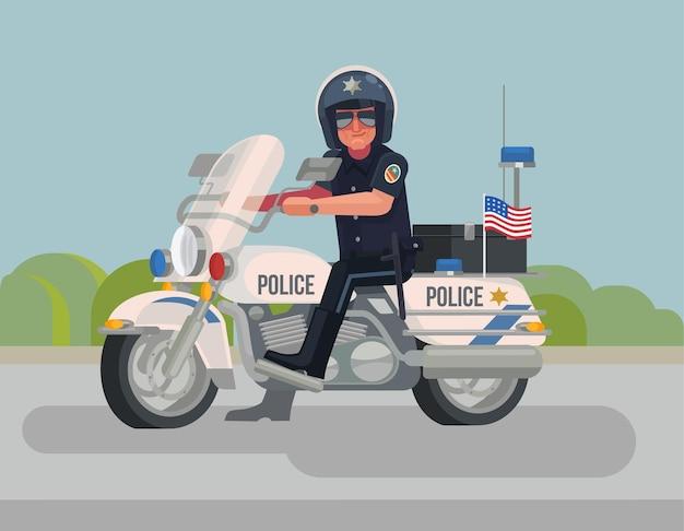 Polizistcharakter, der auf der flachen karikaturillustration des motorrads sitzt