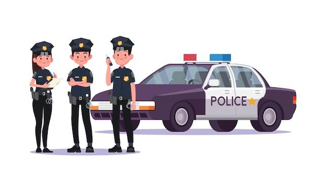 Polizisten drängen sich mit autos