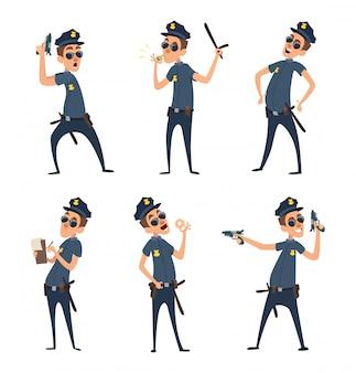 Polizisten in verschiedenen aktionshaltungen. sicherheitsmänner im cartoon-stil