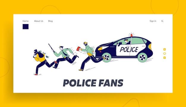 Polizisten verfolgen räuber im dienst landing page template. polizeibeamte charaktere beim aufholen von dieben in maske zur verhaftung