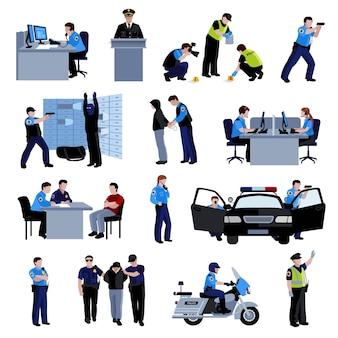 Polizistenleute im büro und draußen mit polizeiauto und situationsfestnahme des straftäters