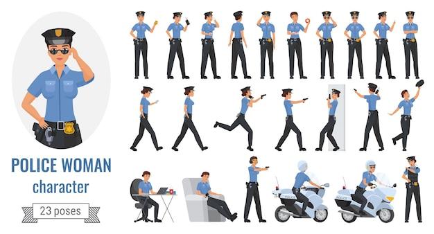 Polizistin frau stellt illustrationssatz auf.