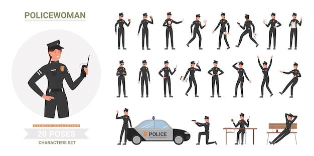 Polizistin frau wirft karikatursatz auf, polizistin in schwarzer uniform arbeitet im büro oder auf der straße
