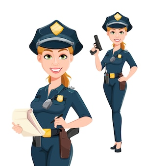 Polizistin in uniform, zwei posen