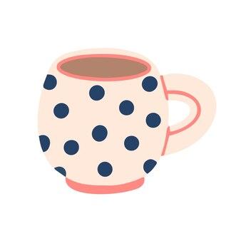 Polka-dot-becher, isoliert auf weißem hintergrund. vektor-illustration