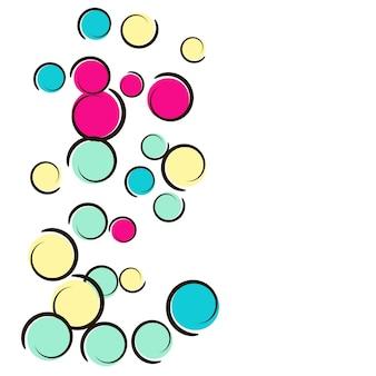 Polka dot hintergrund mit comic-pop-art-konfetti. große farbige flecken, spiralen und kreise auf weiß. vektor-illustration. kinderspritzer aus kunststoff für geburtstagsfeiern. regenbogen-tupfenhintergrund.