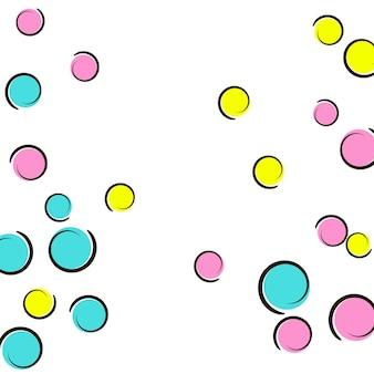Polka-dot-rahmen mit comic-pop-art-konfetti. große farbige flecken, spiralen und kreise auf weiß. vektor-illustration. hipster kinder splatter für geburtstagsfeier. regenbogen-tupfenrahmen.
