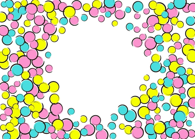 Polka-dot-rahmen mit comic-pop-art-konfetti. große farbige flecken, spiralen und kreise auf weiß. vektor-illustration. stilvoller kindersplatter für geburtstagsfeier. regenbogen-tupfenrahmen.
