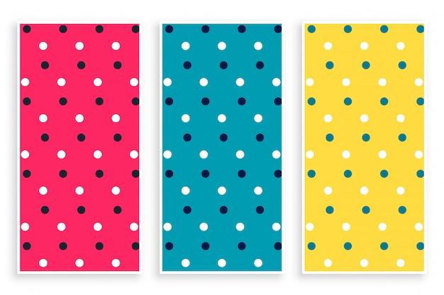 Polka-muster in drei farben