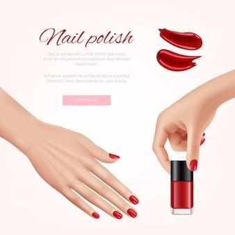 Polnische nägel. frau schönheitskosmetik modepolitur nagel verschiedene farben weibliche hände realistische banner vorlage. schönheit weiblicher fingernagel, produkt für maniküre