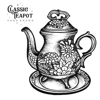 Polychrome hand der klassischen teekanne gezeichnet
