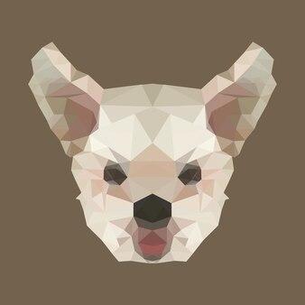 Polygon hundekopf. poly low tier. polygonal isoliert