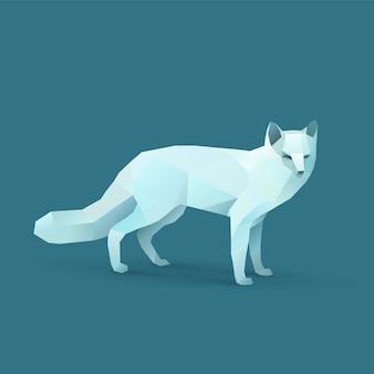 Polygon-illustration von polarem fox
