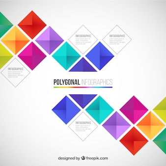 Polygon-infografik in farbenfrohen stil
