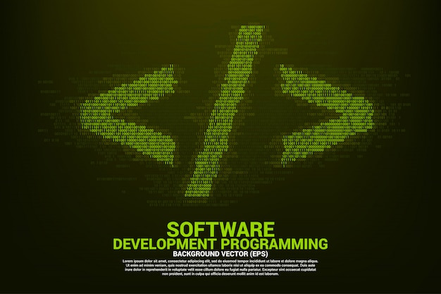 Polygon-softwareentwicklungsprogrammieretikett mit ein- und nullstelligem matrixstil.