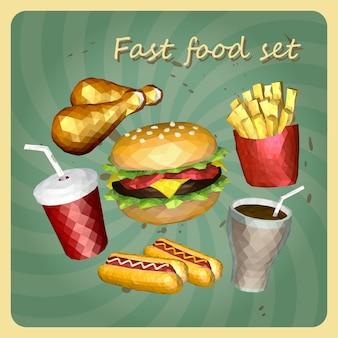 Polygon-stil fast-food-set