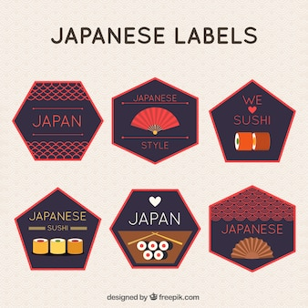 Polygonal japanische etiketten