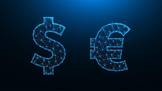 Polygonale darstellung der dollar- und euro-symbole. dollar und euro aus linien und punkten.