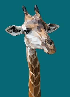 Polygonale darstellung des giraffenkopfes
