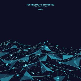 Polygonale formen des abstrakten blauen dreieckhintergrundes
