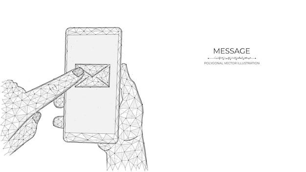 Polygonale illustrationen einer hand, die ein telefon hält und mit dem zeigefinger auf eine e-mail drückt