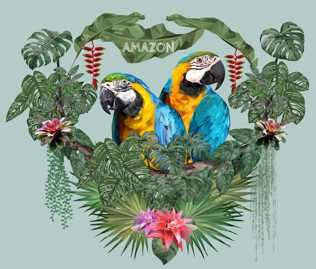 Polygonale illustrationspaar-ara-vögel mit liebeskonzept.