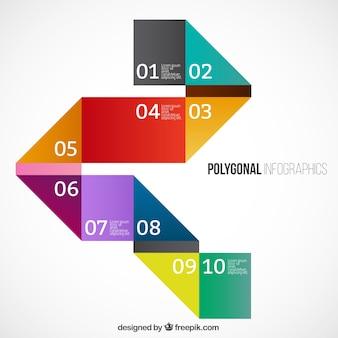 Polygonale infografik in bunten stil