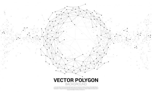 Polygonale linien des vektorwireframe schließen den geometrischen bereich des punktes an, der auf weißem hintergrund lokalisiert wird.