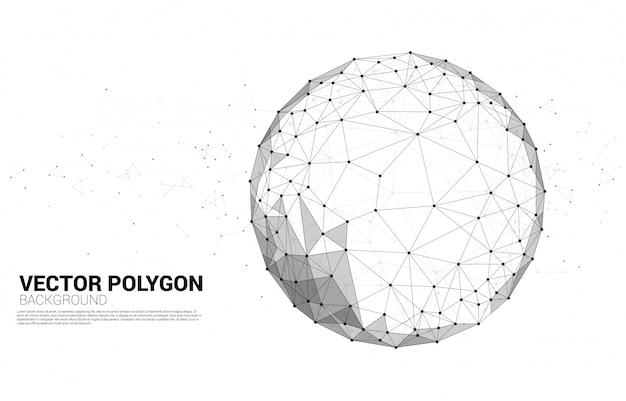 Polygonale linien vektor wireframe schließen geometrischen bereich des punktes an, der auf weißem hintergrund lokalisiert wird: konzept von großen daten, verbindung, digital