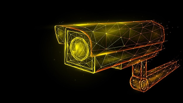 Polygonale vektorgrafik von überwachungskamera, cctv-kamera, videoüberwachungssystem.
