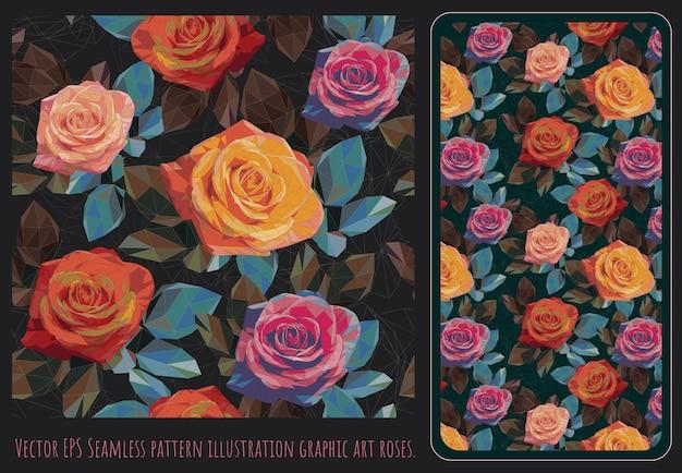 Polygonale vektorgrafiken der nahtlosen muster von bunten rosen und blättern.