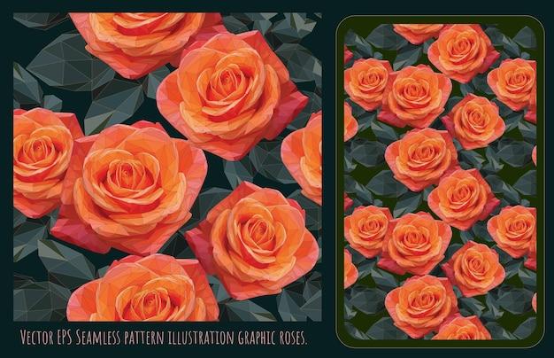 Polygonale vektorgrafiken der nahtlosen muster von orange rosen und grünen blättern.