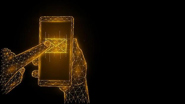 Polygonale vektorgrafiken einer hand, die ein telefon hält und mit dem zeigefinger eine e-mail drückt. öffnen einer neuen nachricht.