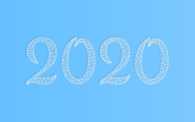 Polygonale vektorillustration drahtgitter-masche des neuen jahres 2020