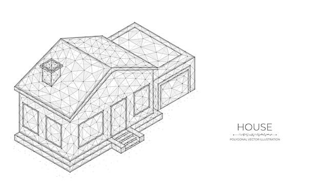 Polygonale vektorillustration eines isometrischen hauses. immobilienkonzept.