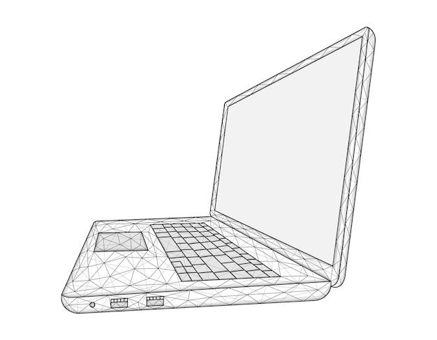 Polygonale vektorillustration eines laptops lokalisiert auf einem weißen hintergrund.