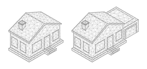 Polygonale vektorillustration von isometrischen häusern. immobilienkonzept.