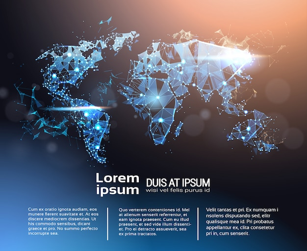 Polygonale weltkarte infographic-fahnenschablone, globale reise und internationales verbindungs-konzept
