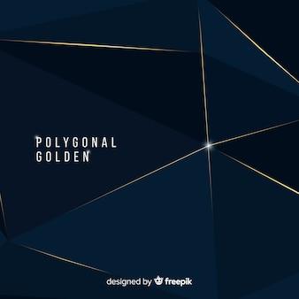 Polygonaler dunkler und goldener hintergrund