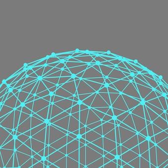Polygonaler hintergrund des netzes. umfang von linien und punkten. kugel der mit punkten verbundenen linien. molekülgitter. das strukturelle gitter von polygonen.